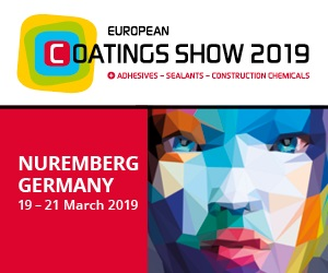 European Coatings Show 2019 at Nuremberg, Germany: 19 - 21 March 2019