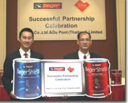 Vorawat Chaiyosburana (left) and Tanakorn Ruchiyran present a panel of Beger Shield products in Thailand