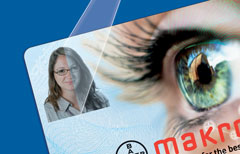 Makrofol® ID Dyefusion has a special coating on one side that allows high-quality, cost-effective color printing using standard card printers